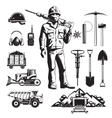 Mining Industry Vintage Icons Set vector image