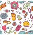 Seamless doodle sewing and needlework vector image