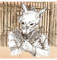 Gunman Wolf - An hand drawn Line art vector image