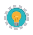 image with bulb light in toothed circle vector image