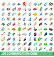 100 communication icons set isometric 3d style vector image