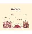 Bhopal skyline linear style vector image