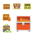 cute set of diferent chests cartoon vector image