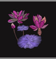 embroidery floral pattern with lotus and leaves vector image