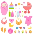 set of baby girl elements vector image