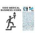 Climbing Leader With Torch Icon with 1000 Medical vector image