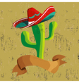 Mexican food cactus with banner vector image