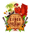 cinco de mayo lettering text and woman greeting vector image
