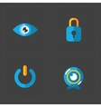 Four flat social icons set on Dark Background vector image