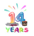 fourteen years anniversary celebration vector image