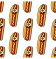 Funny hot dog characters seamless pattern vector image