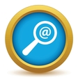 Gold search mail icon vector image