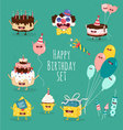 Happy birhsday set vector image