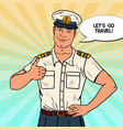 happy sea captain showing thumb up vector image