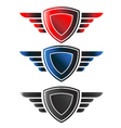 Shield with wings logo vector image