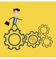 Businessman running on cogwheels vector image vector image