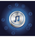 music concept with metal button and icons vector image