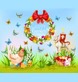 easter holiday cartoon greeting card design vector image