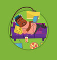 man lying on sofa with many gadgets vector image