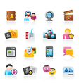social networking and communication icons vector image vector image