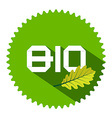 Flat Design Green BIO Label with Long Shadow and vector image
