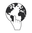 hand pointer and earth icon vector image