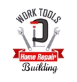 Home building and repair work tools icon vector image