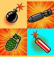 set of bomb in pop art style vector image