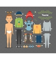Tourist Boy Paper Doll with Clothes and Shoes vector image