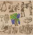wine harvest vintage - an hand drawn set vector image