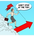 Pop Art Business Woman with Flag Running to Top vector image vector image