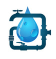 Water pipes and water drop vector image