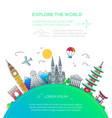 explore the world - flat design travel composition vector image