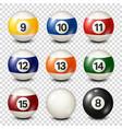 billiardpool balls collection snooker vector image