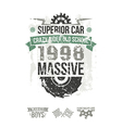 Emblem of the massive superior car in retro style vector image