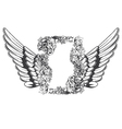vintage frame with wings vector image