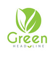 green head line leaves green circle background vec vector image