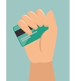 hand hold credit card shop online design icon vector image