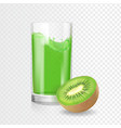 kiwi juice drink glass kiwifruit smoothies vector image