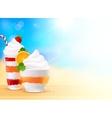 Sweet summer desserts on blurred seascape vector image
