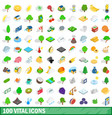100 vital icons set isometric 3d style vector image