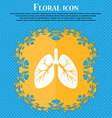 Lungs icon Floral flat design on a blue abstract vector image