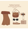 fashion summer dress design woman with bag vector image