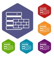 Database and brick wall icons set vector image