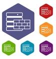 Database and brick wall icons set vector image