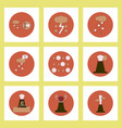 collection of icons in flat style volcan cataclysm vector image