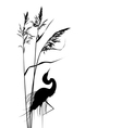 reed and heron vector image vector image