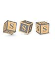 letter S wooden alphabet blocks vector image