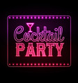 Neon sign Cocktail party vector image