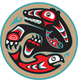 bear catching salmon - native american style vector image